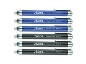 Pen-Style Retractable Eraser Blue;Black 6/Pack