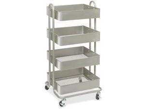 "Lorell 4-Basket Storage Cart Wheeled 18""Wx15-3/4""Lx36""H GY 45652"