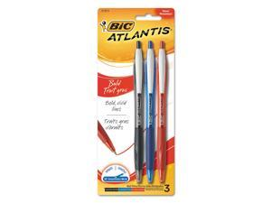 BIC VCGBP31AST Atlantis Bold Retractable Ball Pen, Assorted Ink, 3/Pack