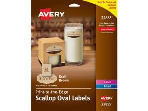 """Avery Oval Labels, Print to the Edge, Permanent Adhesive, Kraft Brown, Scallop Edge, 1-1/8"""" x 2-1/4"""", 525 Labels (22855)"""