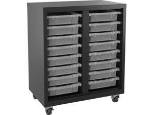 """Lorell Storage Unit w/ Bins 30""""Wx18""""Lx36""""H Black/Clear 71101"""