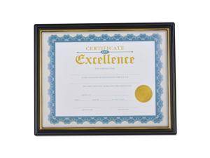 Document Frames, Plastic, 8 1/2 x 10 Insert, Black/Gold, 3/Pack 76847