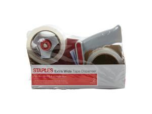 """Staples Extra Wide PKing Tape with Dispenser 2.83"""" x 54.6 Yds Clear 2/RL 394929"""