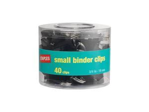 Staples Small Metal Binder Clips, Black, 3/4 Size with 3/8 Capacity, 40/Pack