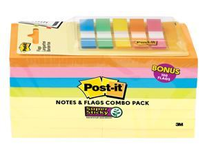 """Post-it Notes and Flags Combo 3"""" x 3"""" Assorted Colors 90 Sheets/Pad 2467261"""
