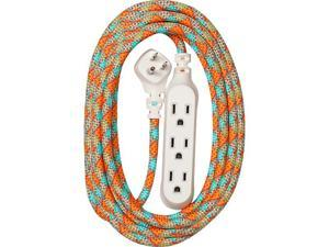 360 Electrical Habitat Accent 8' General Purpose Extension Cord 3 Outlets Poppy