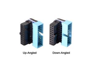 1pair Up and Down Angled 90 Degree Motherboard 19Pin 20Pin Header USB 3.0 Male to Female Extension Adapter Coupler