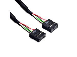 Female to Female Motherboard USB 2.0  9Pin Internal Header Extension Cable 30cm