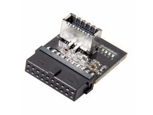 Motherboard USB 3.0 Header 19Pin Female to Motherboard USB 3.1 Header Type-E 20Pin Female Socket Angled Extension Adapter Converter Supports 10Gbps Speed