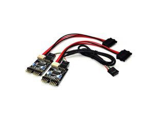 1-to-4 Splitter Motherboard USB 2.0  9Pin Internal Header Male to 4x 9Pin Header Male HUB Converter PCB Board Adapter with 30cm Extension Cable and SATA 15Pin Power Cable