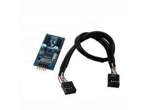 1-to-2 Splitter Motherboard USB 2.0  9Pin Internal Header Male to Dual 2x 9Pin Header Male HUB Converter PCB Board Adapter with Female to Female Extension Cable 30cm