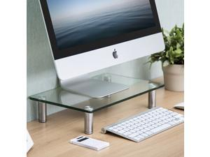 Fitueyes Clear Computer Monitor Riser 3'' High 15.1'' Save Space Desktop Stand