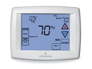 EMERSON 1F95-1291 Blue Series 12 Touchscreen Thermostats, 4 Stages, 24VAC, White