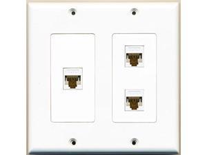RiteAV - 3 Port Cat6 Ethernet White - 2 Gang Wall Plate