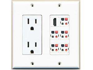 RiteAV Power Outlet + 5 x Speaker Jacks and 1 x HDMI Wall Plate Decorative