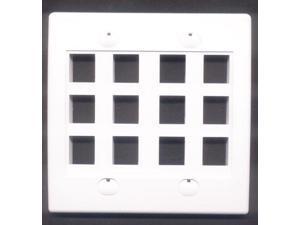 RiteAV - Keystone Wall Plate Double Gang 12-Port White (1 Piece Flush)