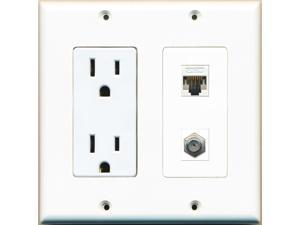 RiteAV - 2 x 15 Amp 125V Power Outlets 1 Cat5e Ethernet and 1 Coax Wall Plate