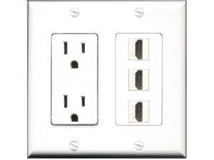 RiteAV - 15 Amp Power Outlet 3 Port HDMI Decora Wall Plate