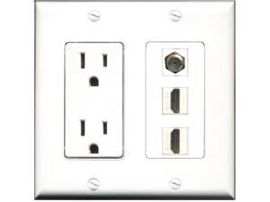 outlet and hdmi wall plate newegg HDMI Wall riteav 15 power outlet 2 port hdmi