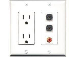 RiteAV - 15 Amp Power Outlet 1 Port RCA Red 2 Port Toslink Decora Wall Plate