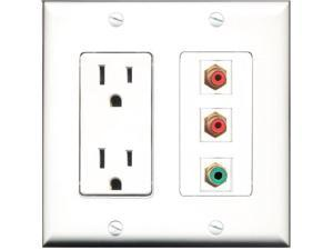 RiteAV - 15 Amp Power Outlet 2 Port RCA Red 1 Port RCA Green Decora Wall Plate