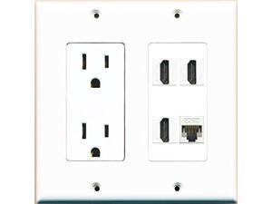 RiteAV Power Outlet 3 HDMI White Cat5E Wall Plate White