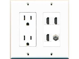 RiteAV Power Outlet 3 HDMI White Coax Wall Plate White