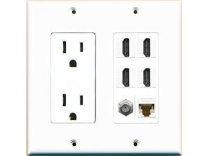 RiteAV Power Outlet HDMI White 2 Coax 3 Cat6 Wall Plate White