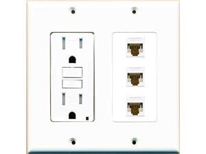 RiteAV GFCI (GFI) 125v 15A Power Outlet and 3 Cat6 RJ45 Ethernet Jack Wall Plate
