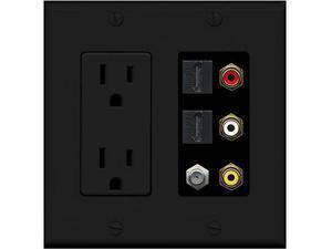 RiteAV Black 15A Power Outlet RCA Composite 2 HDMI 1 Coax Wall Plate 2 Gang