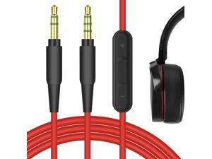 Geekria QuickFit Audio Cable with Mic Compatible with Sony WH-XB900N, WH-CH700N, WH-1000XM2, MDR-XB950BT Headphones Cable, 3.5mm AUX Replacement Stereo Cord with Inline Microphone (Red 5.6FT)