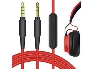 Geekria QuickFit 3.5mm Stereo Cord with Mic for Jabra Move Style Edition, REVO, Elite 85h, Philips SHP9500, X2HR Headphones - Replacement Audio Cable with Microphone and Volume Control (Red 5.6FT)
