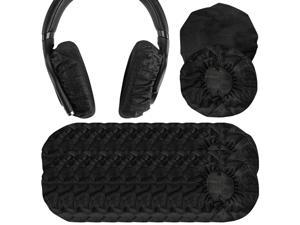 """Geekria 100 Pairs Medium Disposable Headphone Covers/ Earphone Covers / Ear Pads Protector/ Stretchable Sanitary Earcup, Fits 3.14""""-4.33"""" Headsets, Like Bose QC35 II, SONY WH-1000XM3 (Black)"""