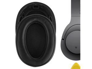Geekria QuickFit Protein Leather Ear Pads for Sony MDR-100ABN WH-H900N Headphones, Replacement Ear Cushion / Ear Cups / Ear Cover, Headset Earpads Repair Parts (Black)