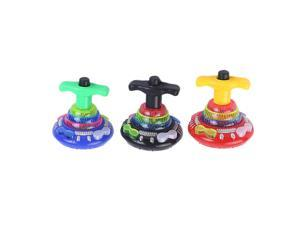 3pcs Funny Flashing Music Gyro Spinning Top Gyrator LED Shining Toys Party Supplies for Kids (Random Color)