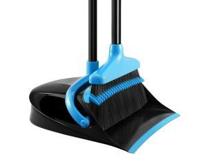 HOMEMAXS Upgraded Broom and Dustpan Set Extendable Broomstick and Dust Pan Combo for Home Kitchen Room Office Black and Blue
