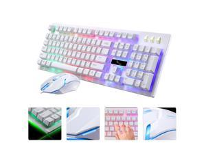 UKCOCO Gaming Keyboard Mouse Combo Wired,RGB LED Backlit Computer Gaming Keyboad,Lighted PC Gaming Mouse, for PC Games Gamer Working, White