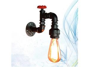 110-240V Vintage Industrial Wrought Iron Water Pipe Wall Lamps Aisle Restaurant Bar Loft Wall Lamp with E27 Bulb (Matte Black)