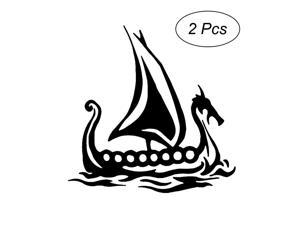 2pcs Dragon Boat Bumper Stickers Car Truck Motorcycle Decals Waterproof Window Vinyl Stickers (Black)