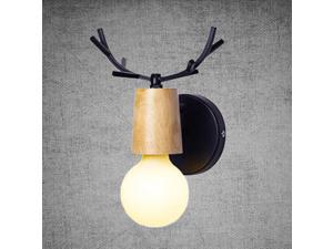 220V Nordic Wooden Creative Personality Antler Wall Lamps Iron Art Europe Wall Lamps for Living Room Bedroom Bathroom with G80 Bulbs (Warm Light, Black)