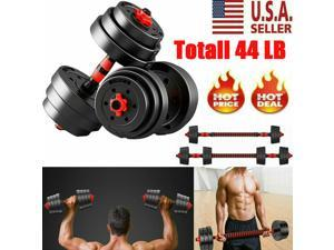 Weight Dumbbell Set Adjustable Cap Gym Barbell Plates Body Workout Totall 44 LB