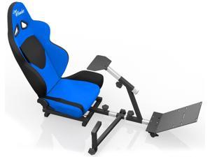 OpenWheeler Advanced Racing Seat Driving Simulator Gaming Chair with Gear Shifter Mount - Blue/Black