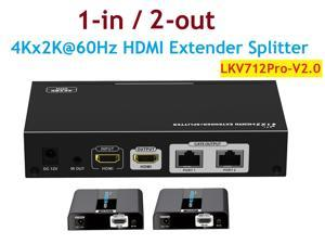 Up to 30m/100Ft, 4Kx2K@60Hz LKV712Pro-V2.0 1x2 HDMI Extender Splitter Converter With HDMI Loop-out Over CAT6/6a/7 With IR Remote