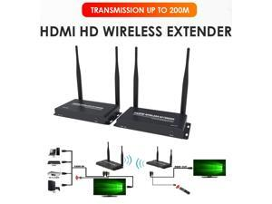 Up to 656Ft, Wireless 1080P @ 60Hz Video Extender with Local Pass-through HDMI Loop-out Transmitter Receiver kit 200m with IR remote