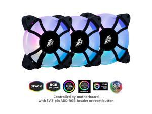 1STPLAYER Ultra Quiet 120mm Addressable RGB Case Fan Combo CC, 5V 3PIN Motherboard Sync,  10-Port Fan Hub, Remote Control 16.8 Million Colors, Hydraulic Bearing, High Performance Speed, 3 Pack