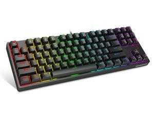 1STPLAYER TKL RGB Gaming Mechanical USB Wired Keyboard DK5.0 LITE Blue Switch Compact 87 Keys Tenkeyless NKRO Full RGB LED Backlit Computer Laptop Keyboard for Windows PC Gamers