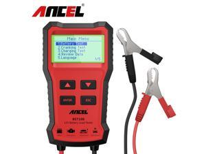 ANCEL BST100 12V Car Battery Charger Tester Analyzer 2000 CCA Voltage Battery Test Car Charging Circut load Tester Tools PK KW600, Red
