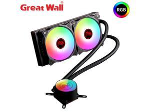 Great Wall RGB Water Cooler CPU Cooling 2011 2066 AM4 Dual Fans 240mm Radiator Computer Processor Heatsink ARGB Water Cooling PC 240i