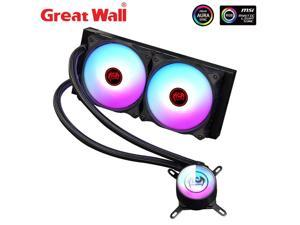 Great Wall ARGB RGB LED Water Liquid CPU Fan Cooler PC Computer Aura SYNC 12cm Fan Radiator for LGA 1150 1151 2011 2066 775 AM3+ AM4 CPU Liquid Cooling 240i