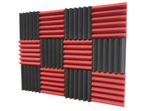 """2"""" Red and Black Acoustic Wedge Soundproofing Studio Tiles 12 pack"""